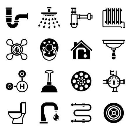 cañerías: Vector Fontanería conjunto de iconos en el fondo blanco Vectores