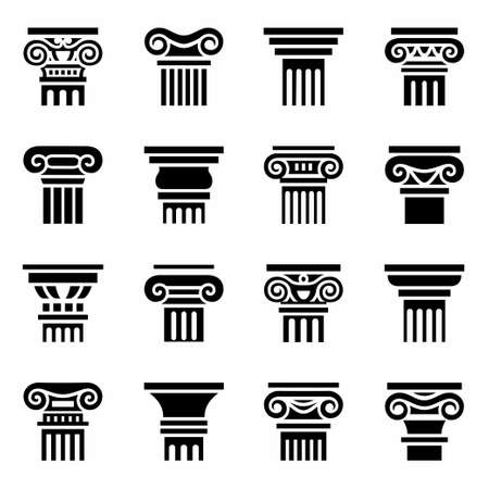 the romans: Vector Column icon set on white background Illustration