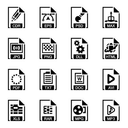 csv: Vector File type icon set on white background Illustration