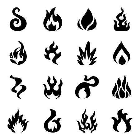 Vector Fire icon set on white background