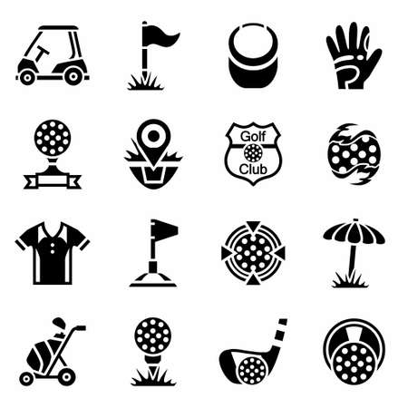 putter: Vector Golf icon set on white background