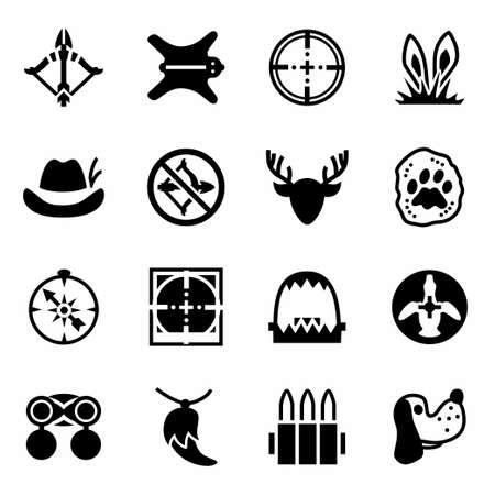 wildlife shooting: Vector Hunting icon set on white background