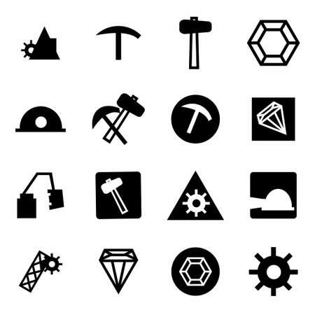 Vector mining icon set on white background