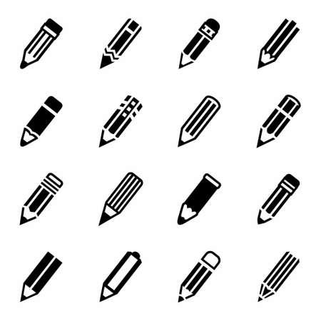 black pictogram: Vector Pencil icon set on white background