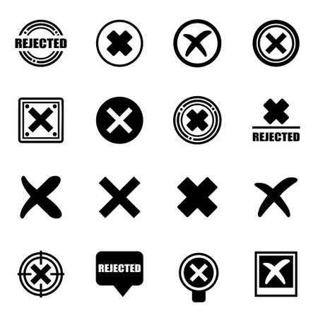 incorrect: Vector Rejected icon set on white background
