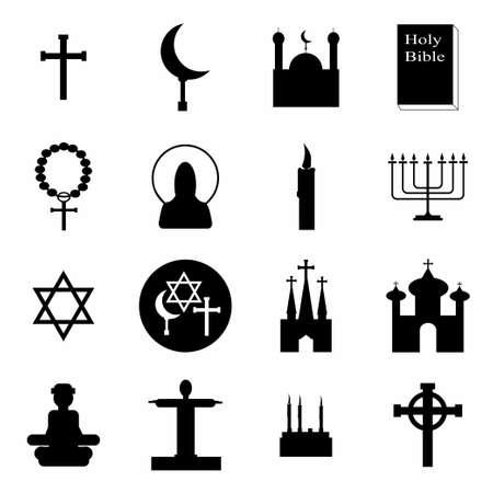protestantism: Vector Religion icon set on white background