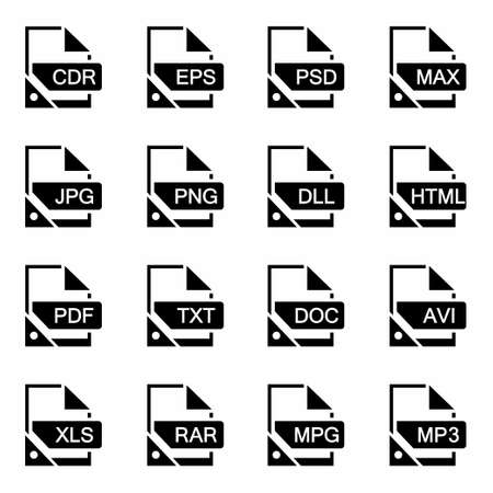 xls: Vector File format icon set on white background Stock Photo