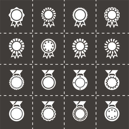 honour: Vector Award medal icon set on black background Illustration