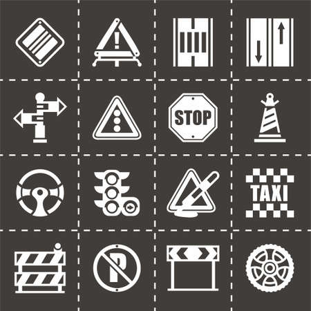 toll: Vector Road icon set on black background