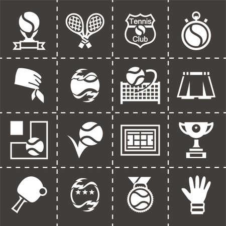 tennis shoe: Vector Tennis icon set on black background Illustration
