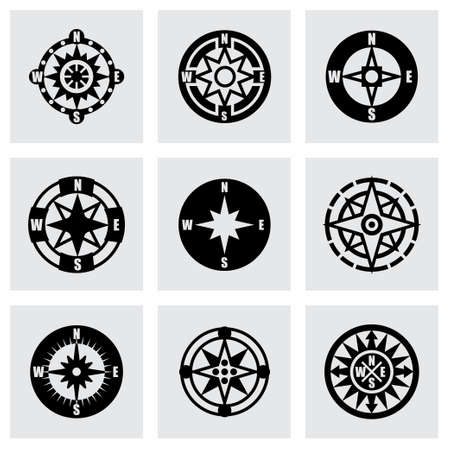 compass vector: Vector Compass icon set on grey background