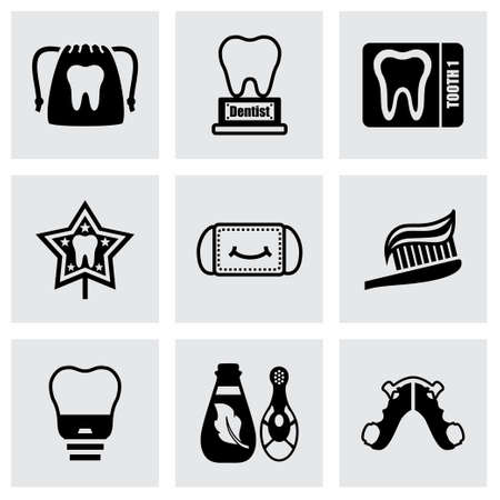 rinse: Vector Dental icon set on grey background Illustration