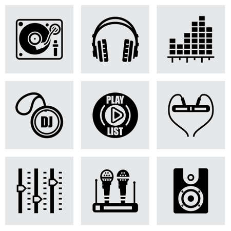 dj: Vector DJ icon set on grey background