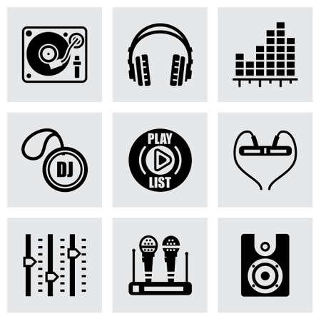 Vector DJ icon set on grey background