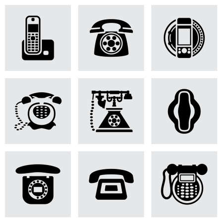 old cell phone: Vector Telephone icon set on grey background