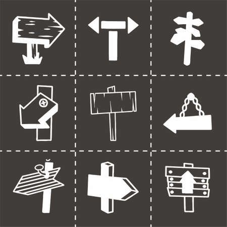 plywood: Vector old wood sign icon set on black background