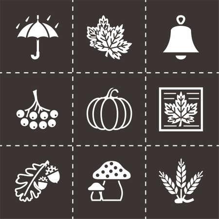 overcoat: Vector Autumn icon set on black background