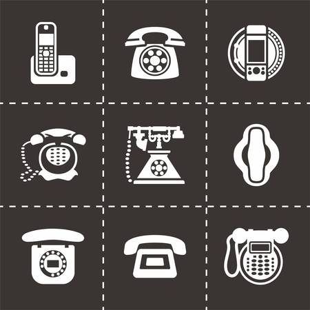 old cell phone: Vector Telephone icon set on black background Illustration
