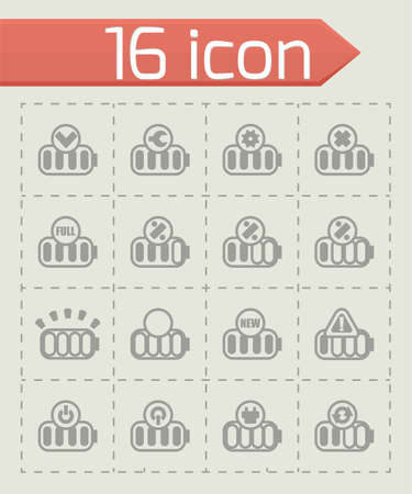 lithium: Vector Battery icon set on grey background