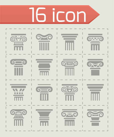architectural styles: Vector Column icon set on grey background
