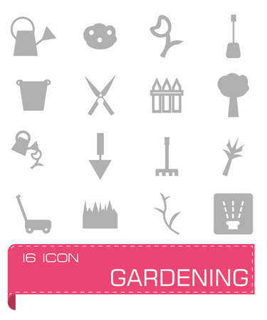 gardening hoses: Vector Gardening icon set on grey background