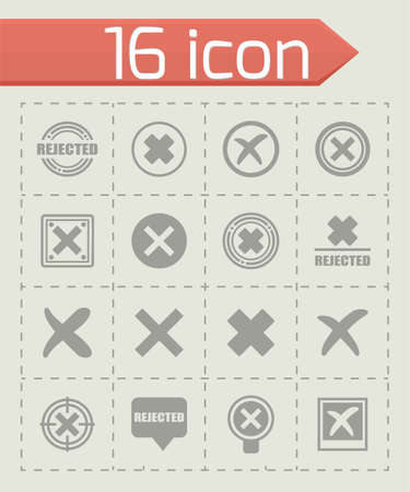 polls: Vector Rejected icon set on grey background Illustration