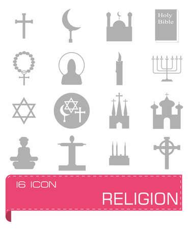 protestantism: Vector Religion icon set on grey background Illustration