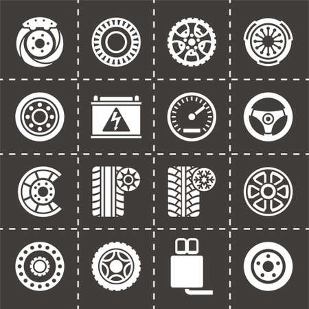 lubricant: Vector Car parts icon set on black background Illustration