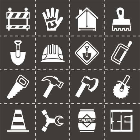 Vector Construction icon set on black background