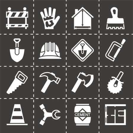 labourer: Vector Construction icon set on black background