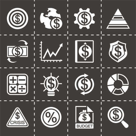 valise: Vector Economic icon set on black background