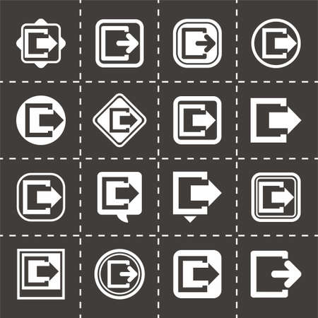going away: Vector Exit icon set on black background Illustration