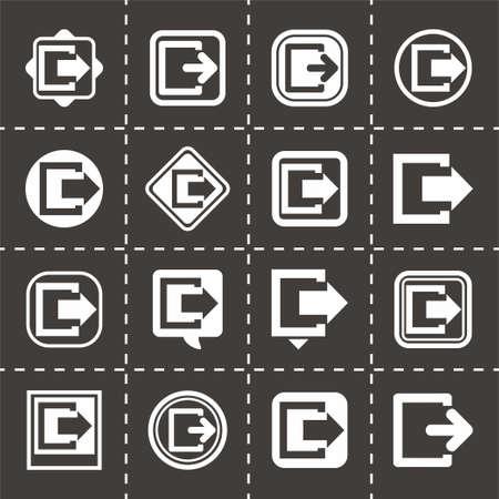 set going: Vector Exit icon set on black background Illustration