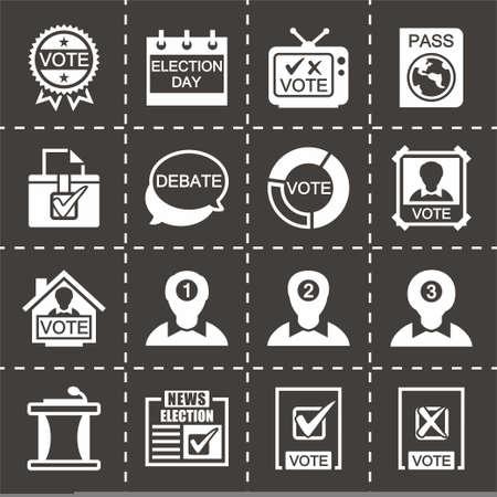 election debate: Vector Election icon set on black background