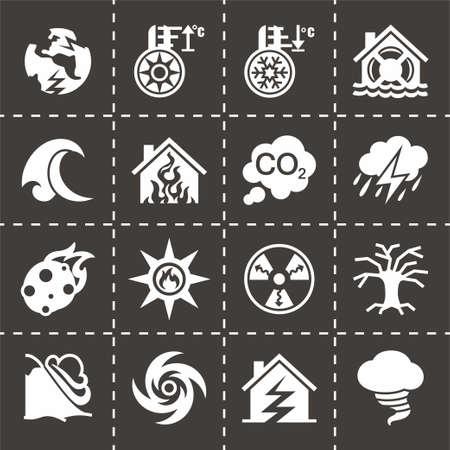 hurricane disaster: Vector Disaster icon set on black background