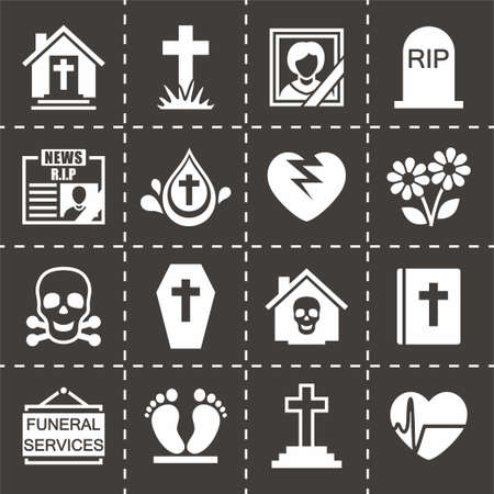 hearse: Vector Funeral icon set on black background Illustration