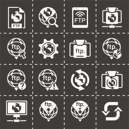 ftp: Vector FTP icon set on black background