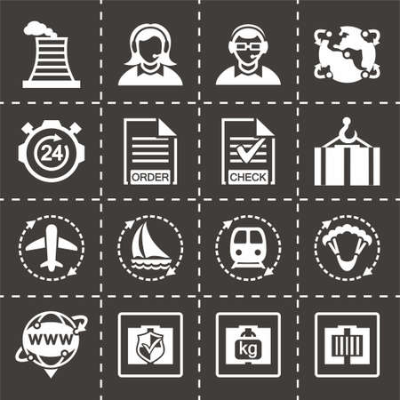 package printing: Vector Logistic icon set on black background
