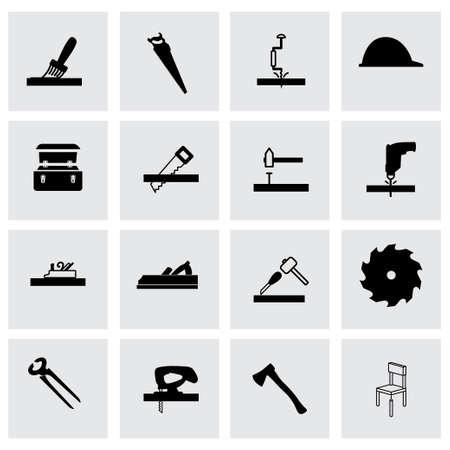 Vector timmerwerk icon set op een grijze achtergrond Vector Illustratie
