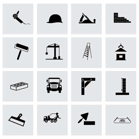 skid steer: Vector construction icon set on grey background Illustration