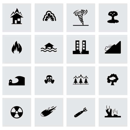toxic substance: Vector disaster icon set on grey background Illustration
