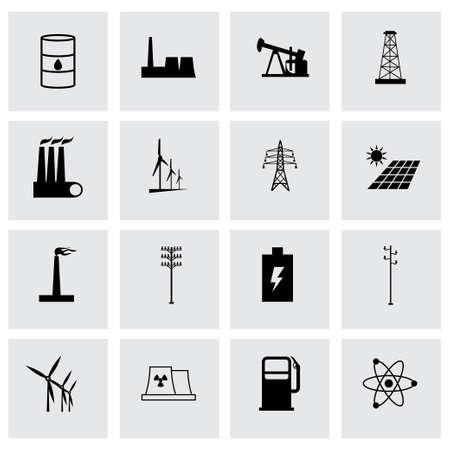 Vector energetics icon set on grey background Vector Illustration