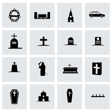 obituary: Vector funeral icon set on grey background