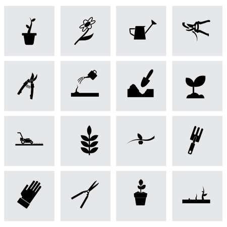Vector gardening icon set on grey background Illustration