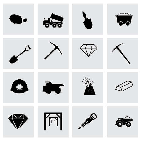 sifting: Vector mining icon set on grey background
