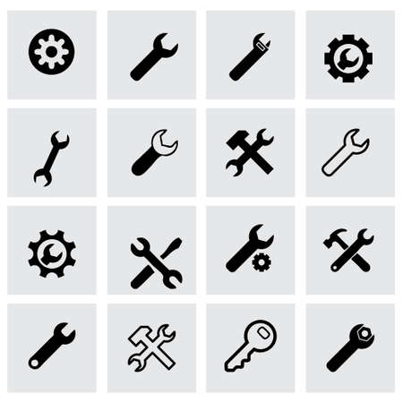 Vector settings wrench icon set on grey background