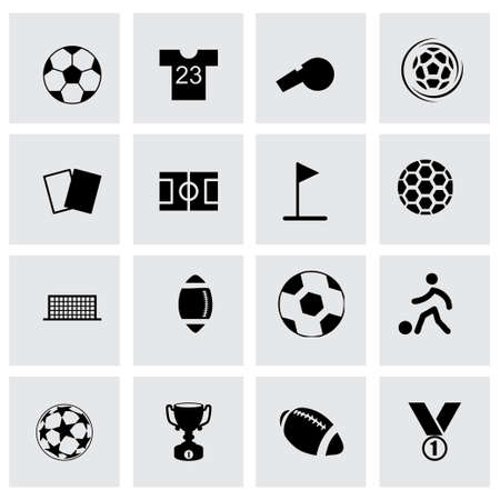 football shoe: Vector soccer icon set on grey background Illustration