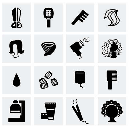 haircutting: Vector Barber icon set on grey background