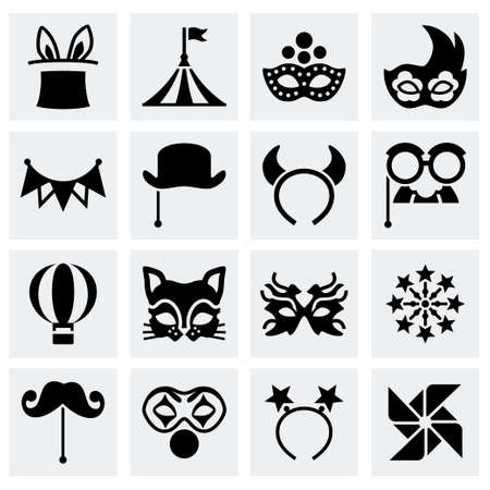 paper mache: Vector Carnival icon set on grey background
