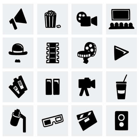 strip show: Vector Cinema icon set on grey background Illustration